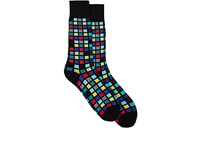 Paul Smith Men's Tile Cotton Blend Mid Calf Socks Black
