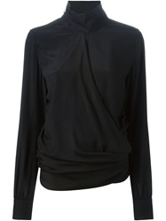 Ter Et Bantine Turtleneck Draped Blouse Black
