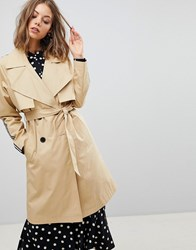 Stradivarius Mac Trench With Side Stripe Beige