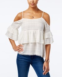 American Rag Ruffled Cold Shoulder Top Only At Macy's Cream