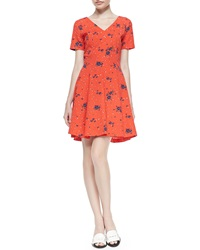 Band Of Outsiders Short Sleeve Floral Fit And Flare Dress 4 Uk 2