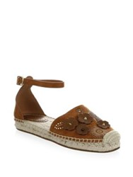Coach T Rose Rivets Suede Ankle Strap Espadrilles Peony Saddle Chalk