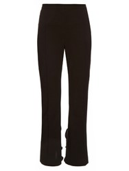 Toga Ruffled Hem Slim Leg Cotton Blend Cady Trousers Black