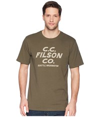 Filson Short Sleeve Outfitter Graphic T Shirt Otter Green Sawdust Savage T Shirt
