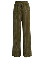 Raey Striped Wide Leg Silk Satin Trousers Green