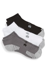 Under Armour Men's Heatgear 3 Pack No Show Socks Grey Black White