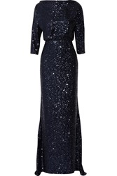 Badgley Mischka Draped Sequin Embellished Tulle Gown Purple