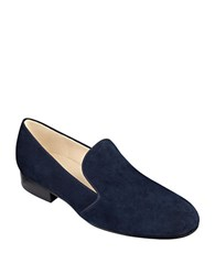 Nine West Clowd Suede Loafers Navy Blue