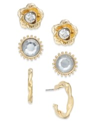 Thalia Sodi Gold Tone 3 Pc. Set Hoop Flower And Crystal Earrings Only At Macy's