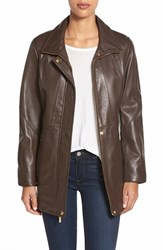 Women's Ellen Tracy Zip Front Leather Coat Brown