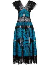 Alberta Ferretti Lace Panel Dress Black