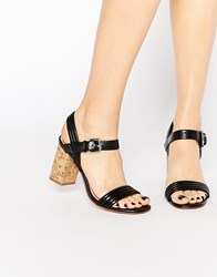 Carvela Slick Cork Heeled Sandals Black Synthetic