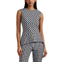 Narciso Rodriguez Gingham Weave Wool Peplum Top White Blk