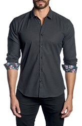 Jared Lang Trim Fit Dot Sport Shirt Black Pin Point