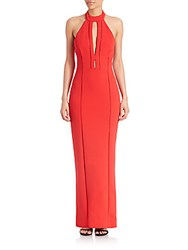 Nicholas Lace Inset Choker Gown Poppy Red