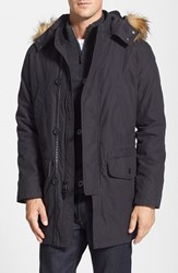 Men's Cole Haan Washed Military Parka With Faux Fur Trim Black