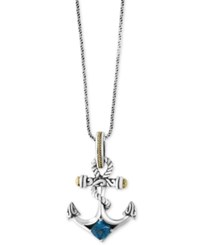 Effy Balissima Blue Topaz Anchor Pendant Necklace 7 8 Ct. T.W. In Sterling Silver And 18K Gold