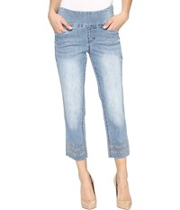 Jag Jeans Baker Pull On Crop Comfort Denim In Blue Issue W Embroidered Hem Blue Issue Hem Embroidered Women's