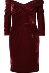 Marchesa Notte Off The Shoulder Draped Stretch Velvet Dress Burgundy