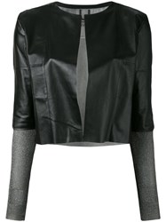 Aviu Cropped Open Jacket Black