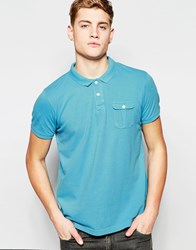Brave Soul Washed Polo Shirt Blue