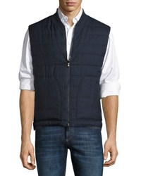 Brunello Cucinelli Reversible Quilted Puffer Vest Blue Brown