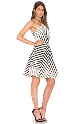 Halston Stripe Halter Dress Ivory