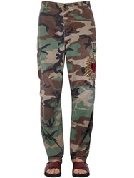 Dolce And Gabbana Heart Embroidered Camouflage Pants Green