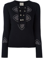 Laneus Lace Up Jumper Black