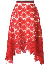 Hilfiger Collection Lace Midi Skirt Women Cotton Polyester 6 Red
