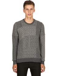 Etro Patchwork Wool Jacquard Sweater Grey