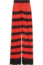 M Missoni Cotton Blend Crochet Knit Wide Leg Pants Red