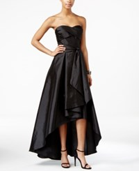 Adrianna Papell Belted High Low Strapless Dress Black