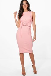 Boohoo Corset Lace Peplum Midi Dress Candlelight Peach