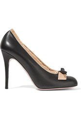 Red Valentino Redvalentino Velvet Trimmed Leather Pumps Black