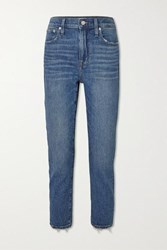 Madewell Cropped Distressed High Rise Slim Leg Jeans Light Denim