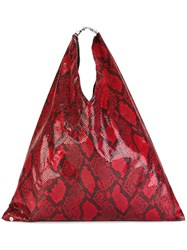 Maison Martin Margiela Mm6 Snakeskin Print Tote Bag Red