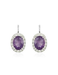 Forzieri 0.51 Ct Diamond Pave 18K Gold Earrings W Amethyst White Gold