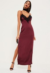 Missguided Burgundy Silky Eyelash Lace Maxi Dress