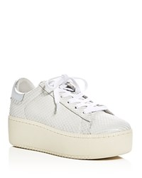 Ash Cult Snake Embossed Lace Up Platform Sneakers White Silver
