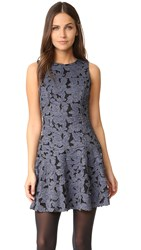 Alice Olivia Fonda Crew Neck Drop Waist Dress Denim Blue Black
