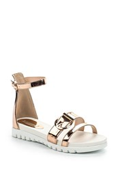 Lost Ink Cori Buckle Strap Sandals Rose Gold