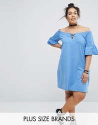 Pink Clove Bardot Shift Dress With Cross Detail Blue