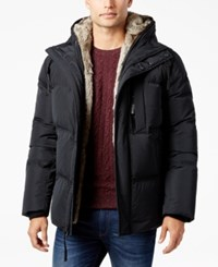 Andrew Marc New York Men's Hooded Faux Fur Lined Quilted Jacket Black