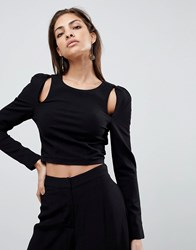 Finders Keepers Leon Cut Away Long Sleeved Top Black