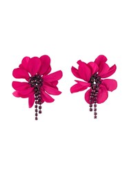 Lanvin Oversized Flower Clip On Earrings Pink And Purple