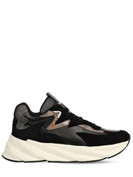 Elena Iachi 50Mm Suede And Leather Sneakers Black