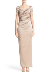 Talbot Runhof Women's Cap Sleeve Ruched Satin Column Gown