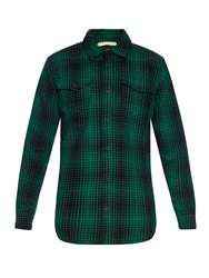 Off White Tartan Wool Blend Shirt