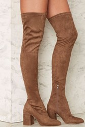 Nasty Gal Up And At 'Em Over The Knee Boot Taupe Brown
